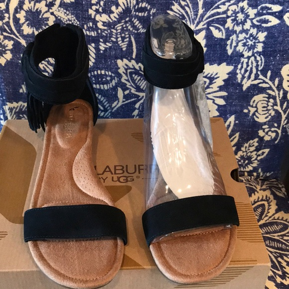 48780415350 Kookaburra Ugg low wedge sandals-black size 9.5 NWT